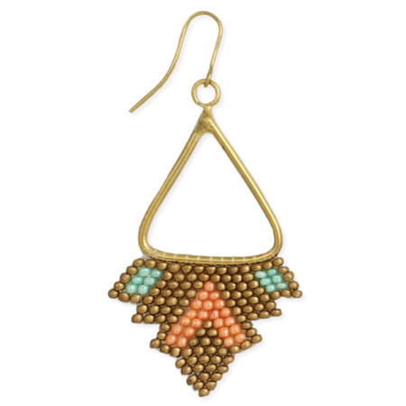 "Bronze & pastel bead triangle earrings Handmade in India  Measurement:  2 1/2"" x 1 1/4"""