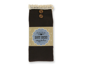 brown ribbed socks with lace edges, boot socks