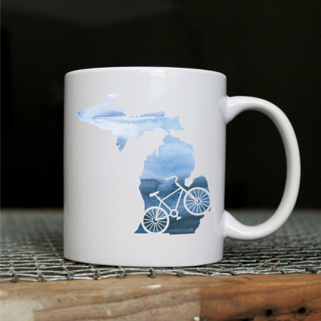 Michigan mug, bike, 11 oz.