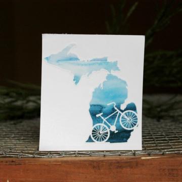 "Michigan watercolor bike decal, sticker, 4"""