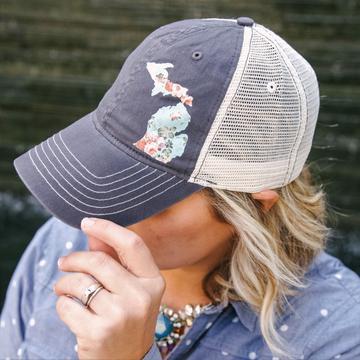 Michigan floral trucker hat
