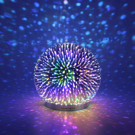 Infinity Mirror Dome Cordless silver globe LED lamp