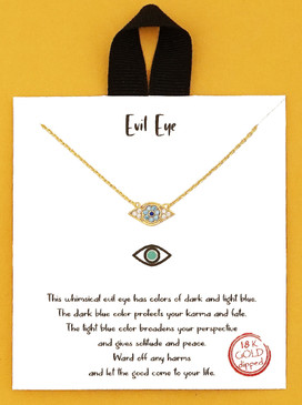 gold dipped beholder evil eye delicate necklace, display