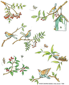 "bird branches flour sack towel, Size: 28"" x 29""."