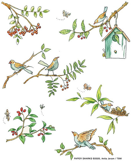 "bird branches flour sack towel, Size: 28"" x 29""."