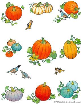 """pumpkins flour sack towel, Size: 28"""" x 29""""."""