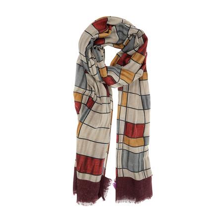 burgundy mondrian style scarf.  90 x 180 cm