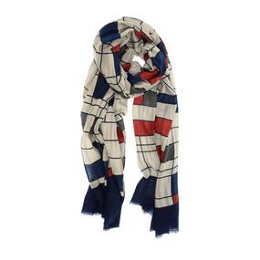 navy mondrian style scarf.  90 x 180 cm