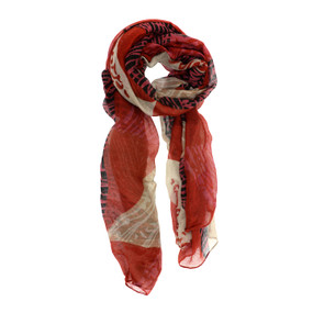 red fall tonal geo scarf