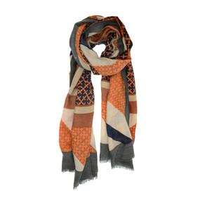 fall foulard scarf - charcoal/orange, 90 x 180 cm