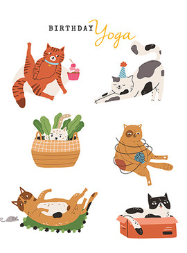 cat yoga birthday card
