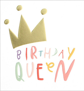 queen gold crown birthday card