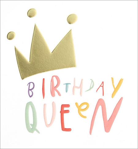 queen gold crown birthday card