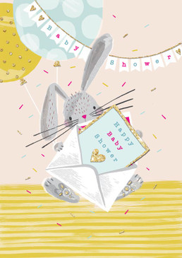 bunny rabbit shower card