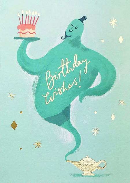 genie wishes birthday card