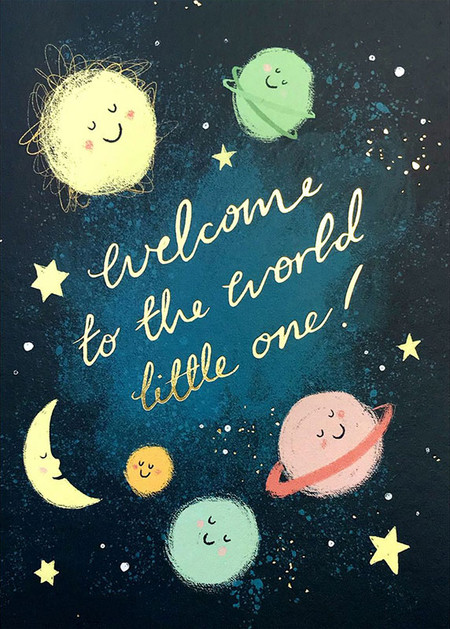 welcome little one moon new baby card