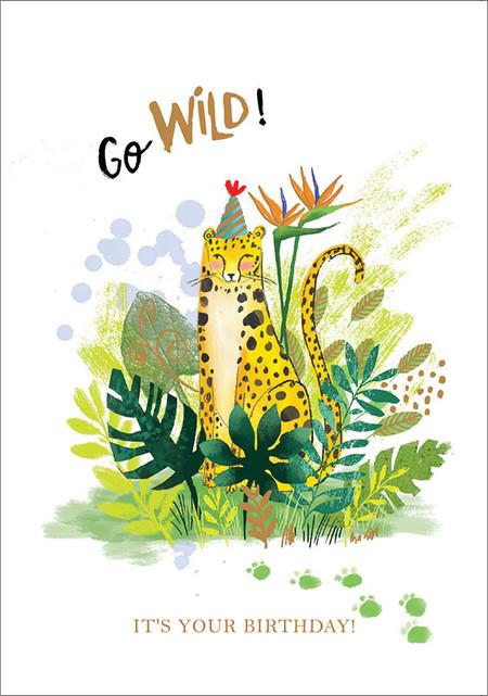 cheetah go wild birthday card,