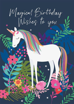 unicorn magical wishes birthday card