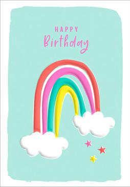 rainbow and stars birthday card