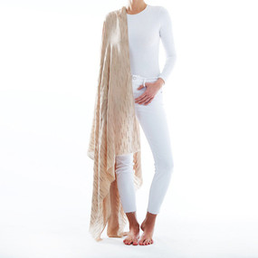 "metallic wheat scarf,  79""x40"",  80% Polyester, 20% Cotton Machine Washable"