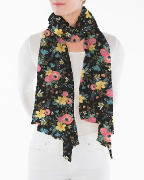 """bumblebee floral scarf, 75""""x37"""" 100% Polyester Machine Washable"""