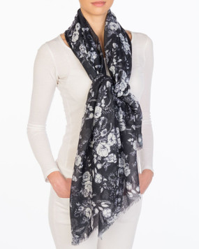 """sketched floral black & white scarf, 75""""x37"""" 100% Polyester Machine Washable"""