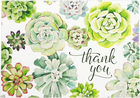succulent garden thank you notes, front