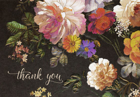 midnight floral thank you notes, front