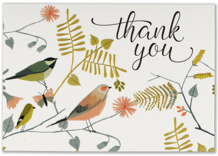 songbirds thank you notes, front