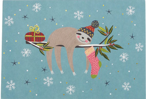 festive sloths boxed holiday cards