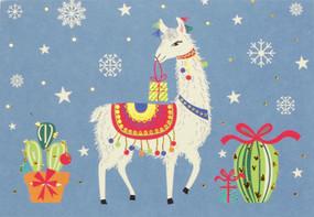 festive llama boxed holiday cards