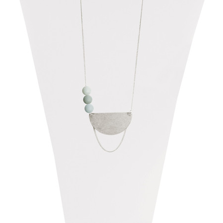 turquoise and silver adjustable worn necklace with stones