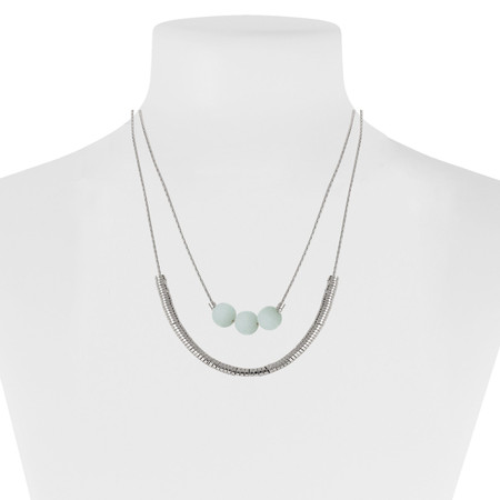 turquoise and silver double row necklace with stones