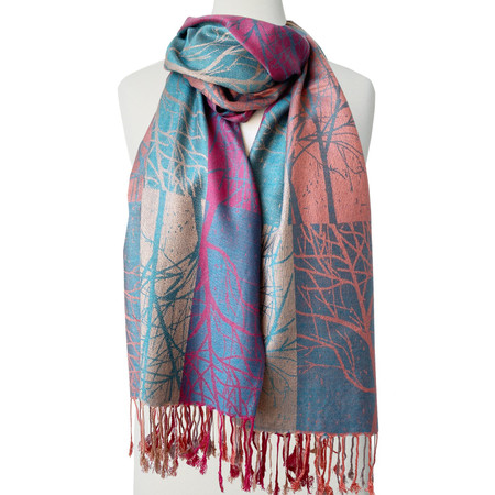 tree print sikly scarf, mixed colors