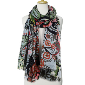 vibrant color flower printed scarf, green