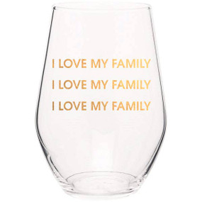 love my family stemless wine glass