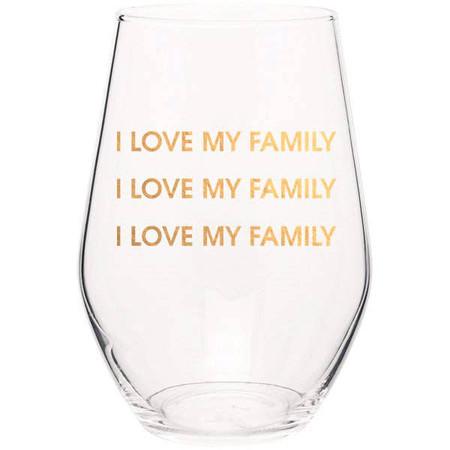 love my family stemless wine glass