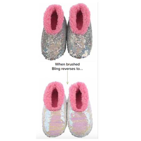 kids magic sequin slippers, silver