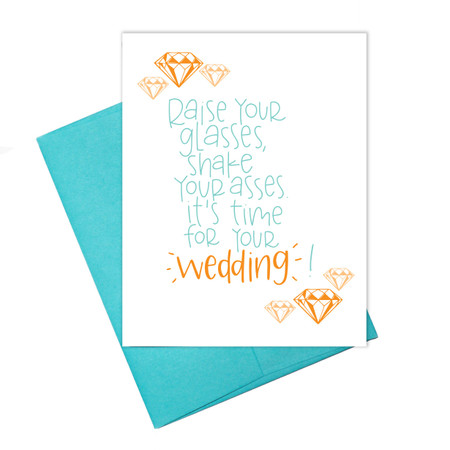 raise your glass wedding card, humorous