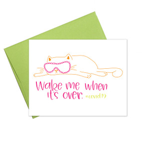 coronavirus wake me when it's over card, humorous, blank inside