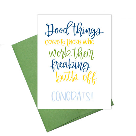good things come congratulations card, blank inside