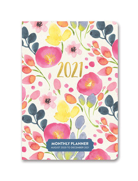 bold blossoms 2021 monthly pocket planner, front cover