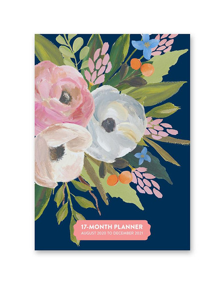 "Bella flora 2021 weekly planner, front cover 4.5""w x 6.25""h x .5""d 17 months (August 2020 to December 2021)"