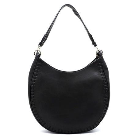 laser cut hobo shoulder bag, black