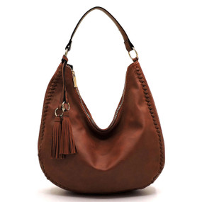 whipstitch shoulder bag, brown
