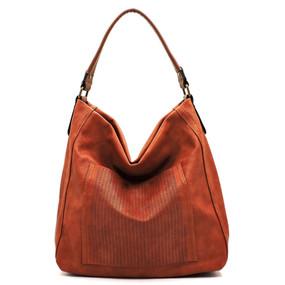 laser cut front pocket shoulder bag - brown