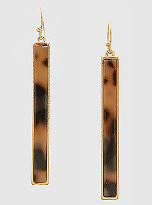acetate tortoise and metal bar earrings