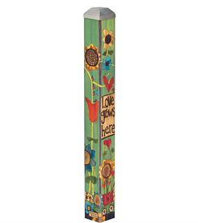 "love grows here 16"" mini art pole"