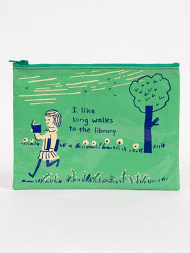 long walks to library zipper pouch