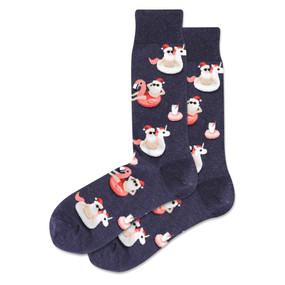 mens pool float santa crew socks